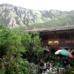 A view of students in the garden of our hostal, and the mountains that surround it.