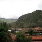 A view of Ollantaytambo from the vantage of the colca side.