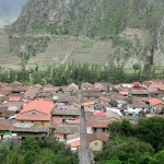 A view of Ollantaytambo and the Temple Hill (often called the Fortress) on the other side of town.