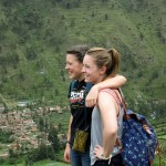 Lea and Courtney during their climb to the colcas, or storage houses, above Ollantaytambo.