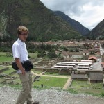 Christian overlooking the town of Ollantaytambo.