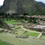 Looking down over the terraces toward the town of Ollantaytambo and the colcas beyond.