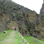 Walking across the terraces at Temple Hill in Ollantaytambo.