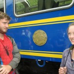 Ammon and Courtney wait to board to PeruRail train to Aguas Calientes.