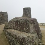 The astronomical observatory of the Intihuatana, in the fog.
