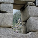 View through an Incan window at Machu Picchu.
