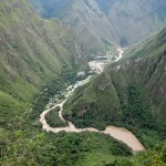 A view of the Urubamba River from Machu Picchu along the trail to the Inca Bridge.