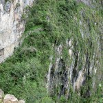A view of the Inca Bridge, built into the rocky mountainside near the city of Machu Picchu.