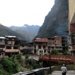 The city of Aguas Calientes near sundown.