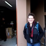Leah in front of the World Vision offices.