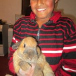 "Benji, with his rabbit, ""Rabbito."""