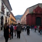 A walking street near the main plaza leads to the entrance of the main marketplace.