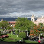 The main square, or plaza de armas, in Ayacucho.