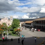 It's hard to find a seat on a bench in the Ayacucho plaza.