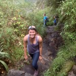 Maria on the way up Huayna Picchu.