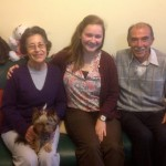 Elizabeth with her host parents, Nancy and Julio Talavera, and their dog, Aria.
