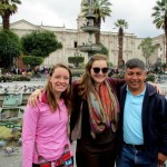 Courtney, Elizabeth and Willy in the Plaza de Armas of Arequipa.