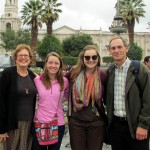 Karen, Courtney, Elizabeth and Duane in the main plaza of Arequipa.