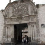 A former colonial mansion serves as commerce home for a bank in downtown Arequipa.