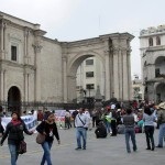 A local protest march ends in the main plaza.