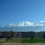 Rains in town ensured snow on the peaks of the nearby volcanoes.
