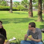 Peter talks with Jessica during our picnic lunch.