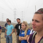 Goshen students listening to the history of this neighborhood in the Southern Cone of Lima.