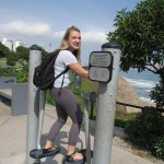 Oops, we caught Hayley trying out one of the interesting exercise machines along the malecón.