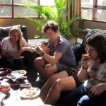 Irene, Kate and Becca taste the granadilla while Phil decides to record it with his camera.