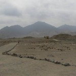 Our first view of the pyramids of Caral.
