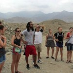 Our guide introduces us to Caral.