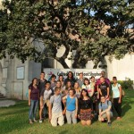 Students pose in front of the Cathedral of the Good Shepherd (El Buen Pastor) where they will start classes on Monday.