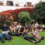 Students enjoying the Museo Larco garden.