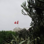 The Civil flag of Peru flies over Museo Larco.