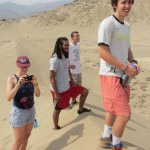 Anna, Josh, Peter and Phil on top of a sand dune at Caral.