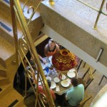 Downstairs view of students visiting as they wait for their meal.
