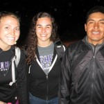 Abbie, center, and Kourtney with their host father in Lucre.