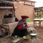 Washing the wool with natural soap made from a locally grown herb.