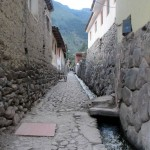 Ollantaytambo is known for its narrow stone streets and water channels.