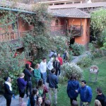 Students gather in the courtyard of Las Portadas prior to a morning of hiking.