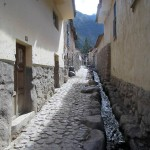 One of the many narrow streets and water channels in Ollantaytambo.