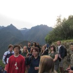 James, Jessica and other students catching a first glimpse of the Incan city.