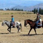 Abbie and Javier ride horses near Quinua, a town outside of Ayacucho.
