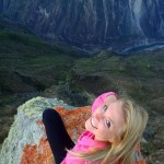 Kourtney on the rock outcropping at the canyon in Curahuasi.