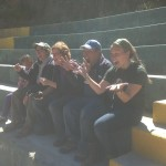 Trying to generate excitement at the bullfighting ring in Vito . . .