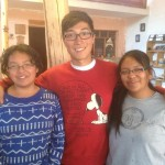James with his host sisters, Dirsia and Alison.
