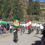 School students from Mollebamba march in the parade.
