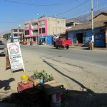 A view the a Curahuasi street from our combi as we prepare to leave Curahuasi.