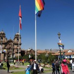 The Cusco flag flies along with the Peruvian flag.