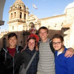 James, Irene, Peter and Alberto in Cusco's San Francisco plaza after celebrating Peter's birthday.